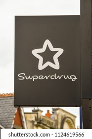 PORTHCAWL, WALES - JUNE 2018: Sign fixed above a branch of Superdrug in Porthcawl town centre