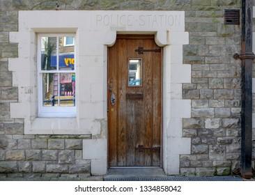 Porthcawl , Wales /UK - 03/10/19: Old doorway of former police station