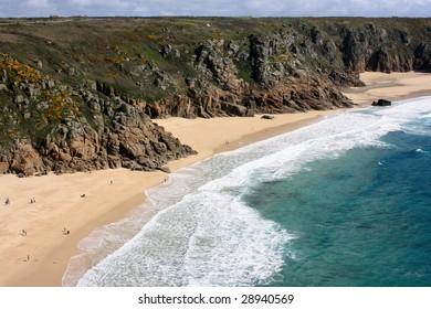 Porthcurno beach, Cornwall UK.