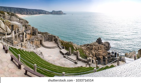 PORTHCURNO, UK - MARCH 26, 2013: Minack Theatre in Cornwall built into cliff face by Rowena Cade, an historic open air theatre which attracts tourists