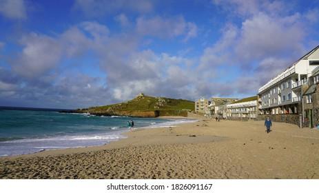 Porthmeor beach St Ives Cornwall sunny day blue skies blue sea September 2020