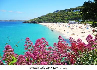 porthminster beach in st.ives, cornwall, england, britain, uk.