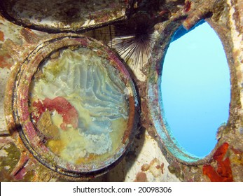 A porthole from inside a wreck. shot in the Red Sea 18/10/2008