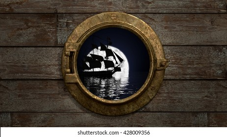 Porthole - Ship View An old fashioned porthole looking out at a ship in the moonlight. 3d Render