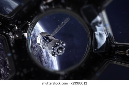 Porthole of space station and space ship in the outer space. Deep space. Elements of this image furnished by NASA
