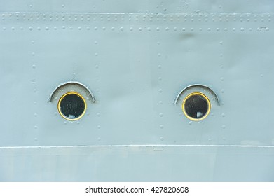 Portholes of the old ship.
