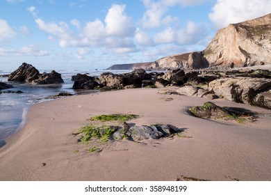 Porthtowan beach in cornwall england uk.