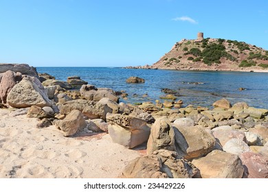 Porticciolo beach on a clear day. Shot in Sardinia, Italy.
