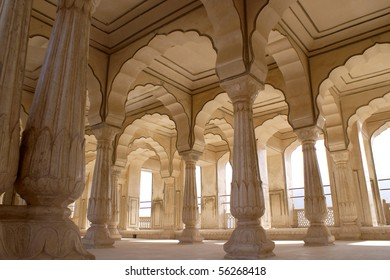 Portico in the Rambagh Palace of Jaipur, India