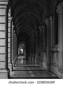 Portico, sheltered walkway, in Bologna with its almost 40 kilometres of porticos. Bologna is a unique city in the world