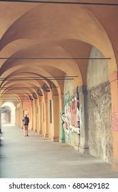 Porticos in Bologna. Italy