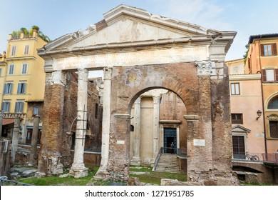 Porticus Octaviae or Portico di Ottavia in Rome. Italy