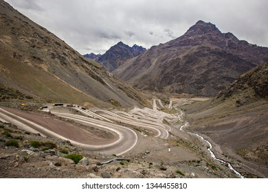 PORTILLO, CHILE - February 2019: Curvy mountain road on the border between Chile and Argentina, Los Andes region, Chile