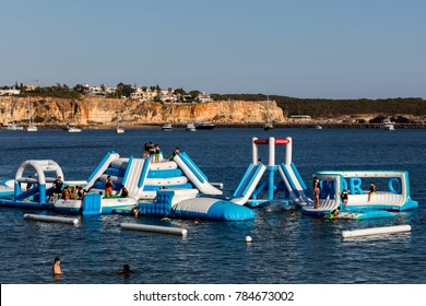 Portimao, Portugal, August 19, 2017: Navibordo Water Sports installation on the Portimao's Praia da Rocha beach