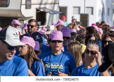 PORTIMAO, PORTUGAL - OCTOBER 10, 2017: Mamamaratona event, run for breast cancer awareness takes place on October 10, 2017 in Portimao, Algarve, Portugal. Public event.