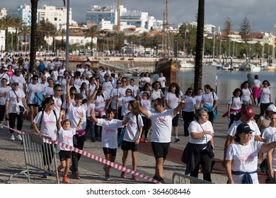 PORTIMAO, PORTUGAL - OCTOBER 11: Mamamaratona event, run for breast cancer awareness takes place on October 11, 2015 in Portimao, Algarve, Portugal. Public event.