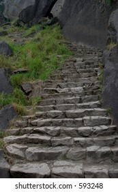 A portion of the 600 granite stairs that lead to the top of Vernal Falls, Yosemite NP.