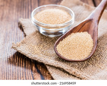 Portion of Amaranth Amaranth on a wooden spoon