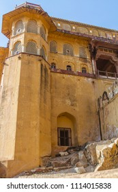A portion of the Amber Fort in Rajasthan, India,