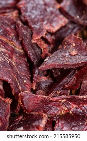 Portion of Beef Jerky as detailed macro shot