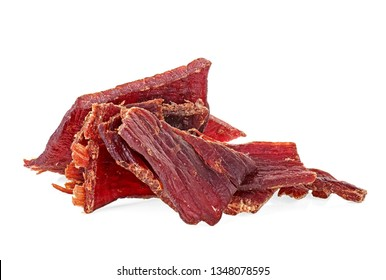 Portion of beef jerky on a white white background. Full depth of field.