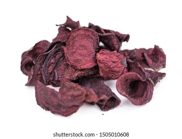 Portion of Beetroot Chips isolated on white background (selective focus)