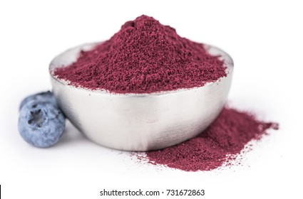 Portion of Blueberry Powder as detailed close-up shot isolated on white background