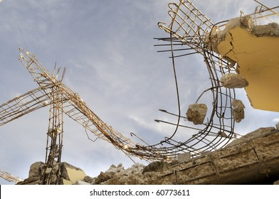 Portion of a collapsed roof of a building.