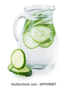 Portion of Cucumber Water as detailed close-up shot isolated on white background