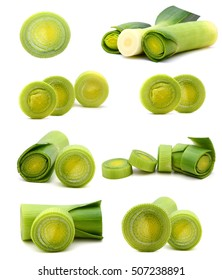 Portion of cutted Leeks isolated on pure white background
