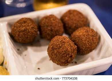 portion of five Dutch snack, bitterballen