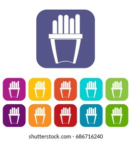 Portion of french fries icons set  illustration in flat style In colors red, blue, green and other