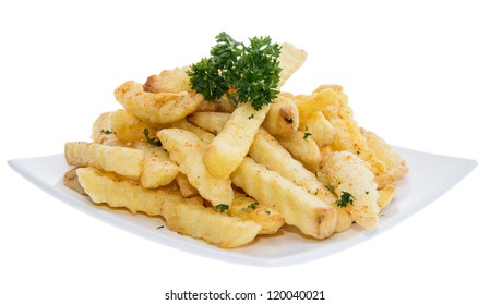 Portion of French Fries on white background