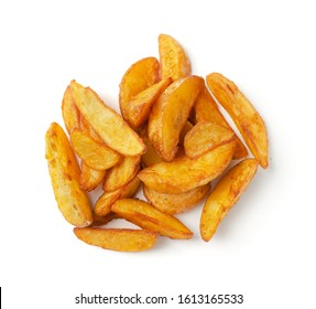Portion of fresh baked potato wedges, isolated on a white background. Top view.