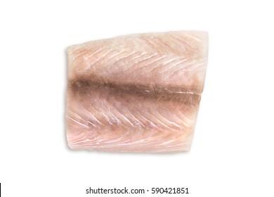 Portion of fresh fish fillets mahi mahi on a white background