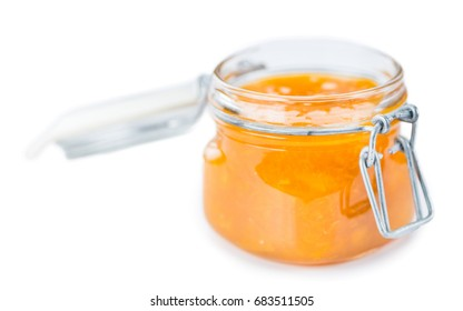 Portion of fresh made Apricot Jam isolated on white background