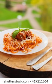 Portion of fresh spaghetti with meat balls