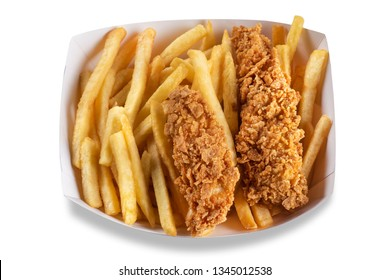 Portion of grilled chicken wings and chips in trays on chopping board