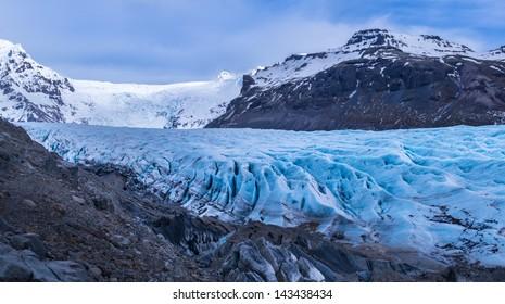A portion of the huge Vatnajokull glacier in Iceland.