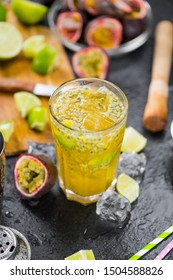 Portion of Jorge Amado Cocktail as detailed close-up shot; selective focus