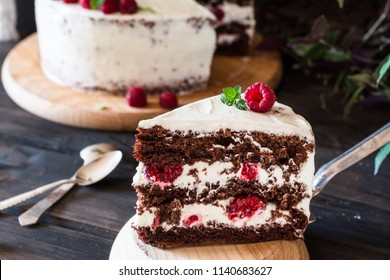 Portion of layered creamy fruit cake with in close up view. Raspberry cake with chocolate. Chocolate cake. Mint decoration. Cheesecake on wooden table. Still life of food. Black forest cake