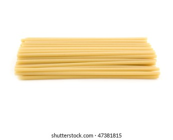 Portion of macaroni (maccheroni) on white background