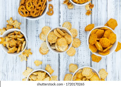 Portion of mixed Snacks (detailed close up shot; selective focus)