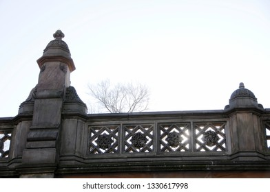 A portion of the ornately sculpted stone balustrade of the iconic and historic Bethesda Terrace in New York City's Central Park.