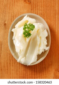 portion of pork lard with parsley on a plate