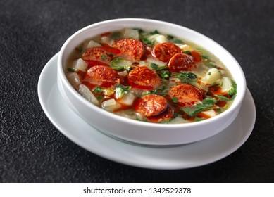Portion of Portuguese Caldo verde soup