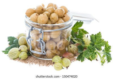 Portion of preserved Gooseberries with some fresh fruits isolated on white