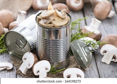 Portion of preserved Mushrooms (macro shot)