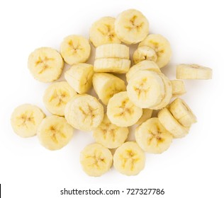 Portion of Sliced Bananas as detailed close-up shot isolated on white background