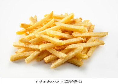 Portion of straight cut fried potato chips, French Fries or Pommes Frites in a pile on white suitable for men and advertising